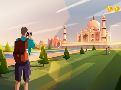 Video Frame Series - Majan - traveler at Taj mahal vector 2d character design design illustration