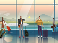 Video Frame Series - Majan - Traveller at the Airport graphics character design vector illustration adobe illustrator creative illustration