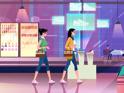 Shopping spree creative art character design illustration