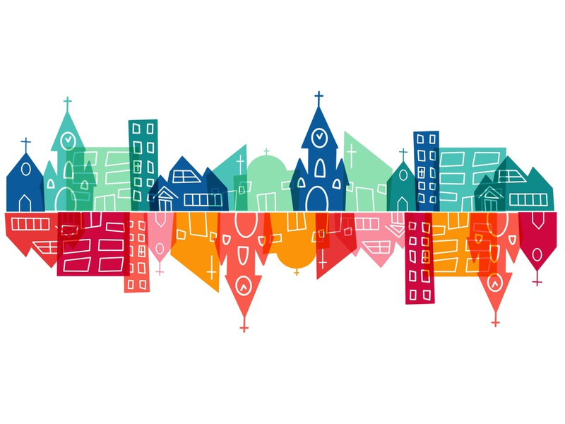 One Church, Many Buildings pattern church vintage abstract design procreate illustration