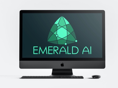 Emerald AI logos green icon branding brand design design logo design trillion emerald custom type logo
