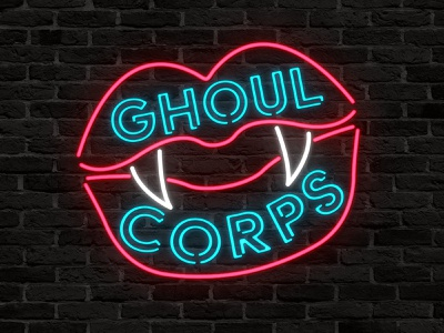 Ghoul Corps Titlecard illustrator twitch spooky dark vampire fangs neon light neon vector typography logo illustration
