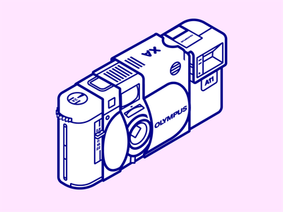 Olympus XA technical drawing lineart rangefinder olympus 35mm icon isometric illustration isometric
