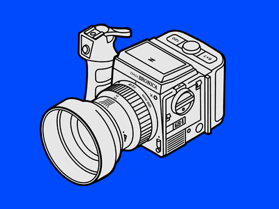 Bronica GS-1 analog ik blue isometric illustration isometric film 35mm film photography medium format gs-1 bronica