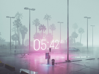 The Time retrowave sfm cgi fog mist reflection vaporwave palms miami 80s neon glow