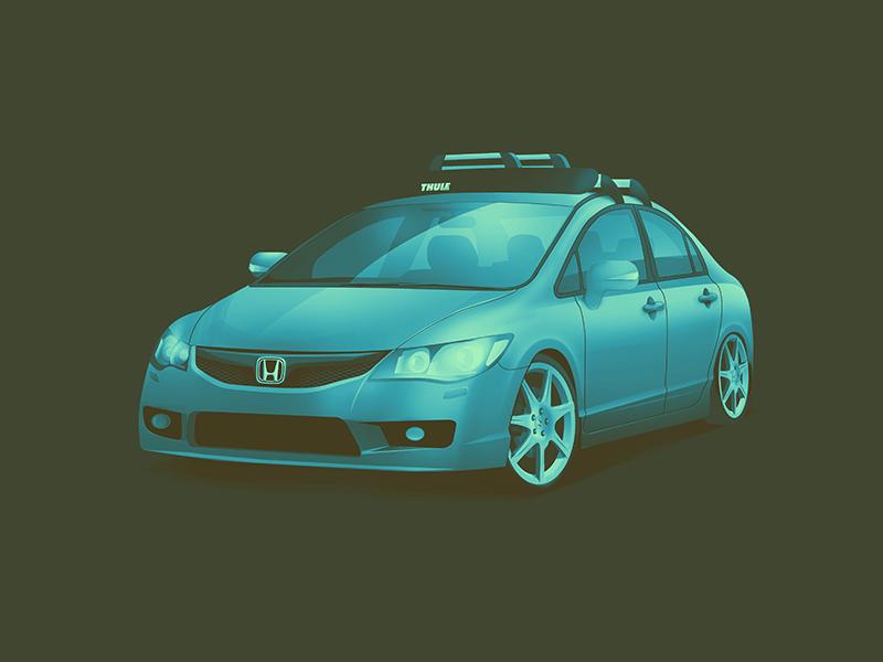 Civic FD6 fd6 jdm illustration automotive auto machine car stance r type honda civic