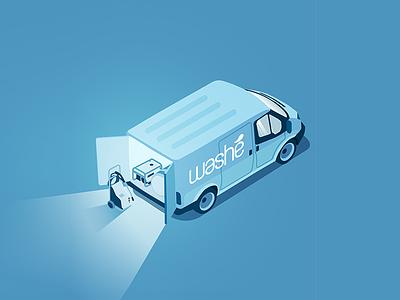 Wash Van car wash tank water truck commercial wagon illustration van car wash