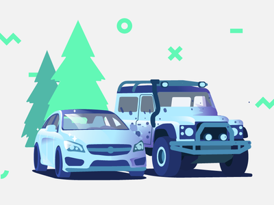 My Other Car is A... rover land coupe vehicle car offroad flat 4x4 jeep mercedes illustration