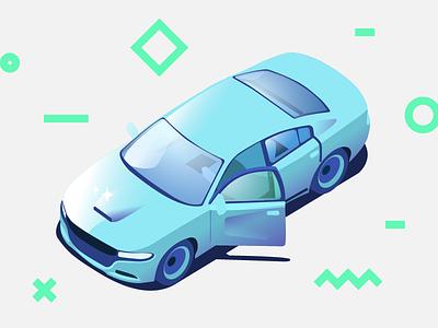 Sedan automobile auto illustration v8 muscle charger dodge shine sedan vehicle car isometric