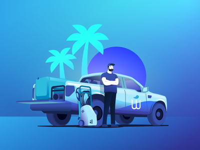 All Ready to Go car wash gradient onboarding washe palm 4x4 wash car ford truck pickup illustration