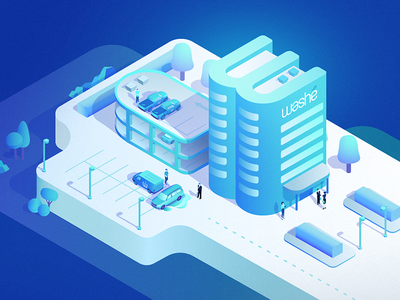 Washé Onsite b2b parking wash car business building office town city isometric