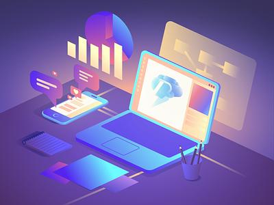 Building a Brand designer digital marketing neon glow isometric process design branding