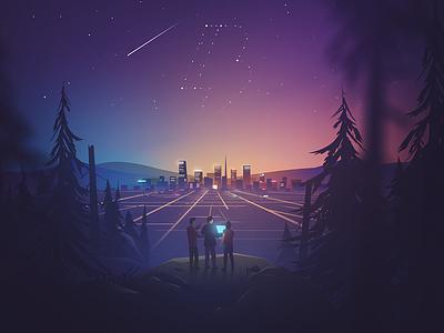Dreaming Big landscape city neon stars night forest glow gradient illustration sky teamwork team