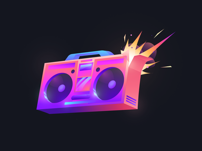 Boombox design illustration boom boom box branding retrowave 80s retro game explosion ghettoblaster 70s boombox