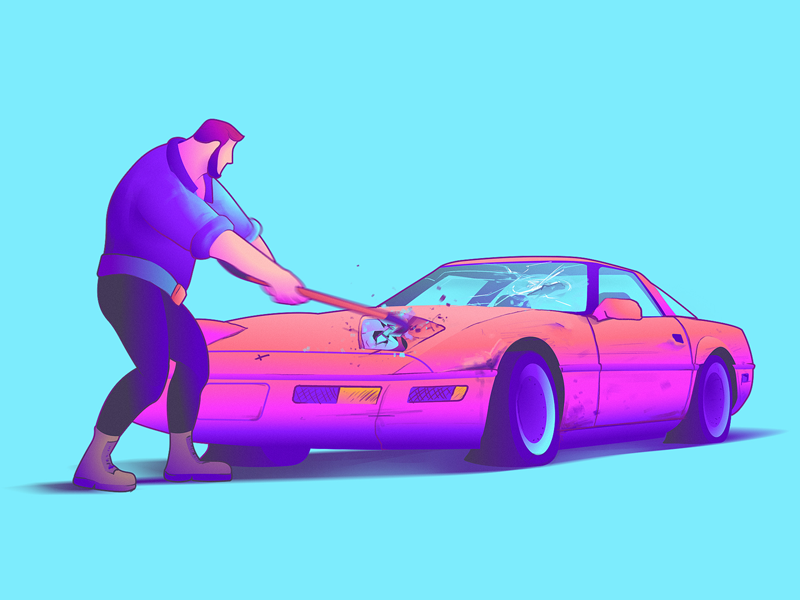 Smashin' breaking rage colorful illustration crowbar big lebowski auto neon 80s crash smash corvette car