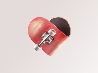 Love Skate 3d illustration skate heart icon sign
