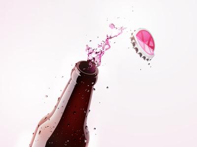 Dribbble Dring bottle slpash dribbble 3d illustration