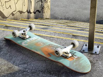 Skateboard mockup up mock mockup illustration skateboard max 3d cg