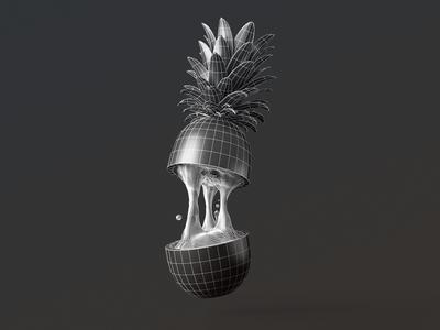 Sliced Pineapple  splash juice pineapple illustration cg rendering 3ds max 3d vray edges