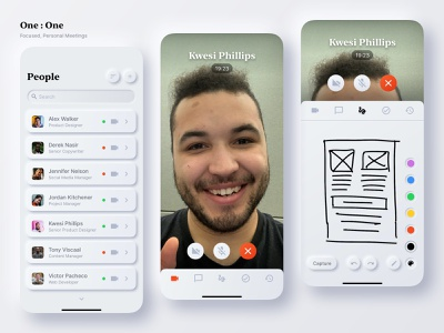 One : One | Focused, Personal Meetings ux ui asmallstudio simple tool uiux uxdesign uidesign productdesign collaboration connection people neuromorphism neuromorphic focusedandpersonal videocall oneonone 1on1