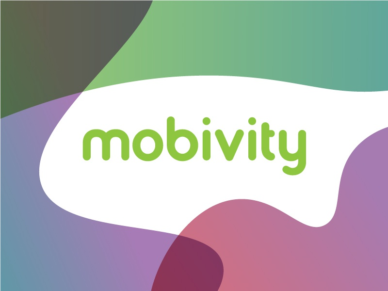 Mobivity Logotype branding identity refreshing refine new bold color rounded logotype logo mobivity