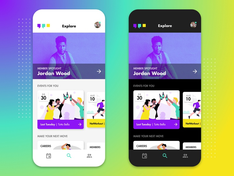YPOS | Local Networking App for Young Professionals ui ux identity logo illustration product design social media app networking events social network professional services seattle a small studio dark mode