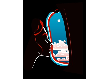 Inside the plane planewindow window negative space girl plane vector illustration