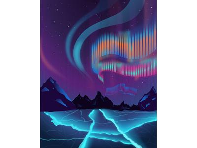 Polar lights poster gradient night sky polar winter ice mountains polarlight flat vector illustration