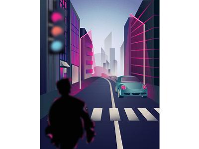 City cityscape gradient road poster megapolis city car flat vector illustration