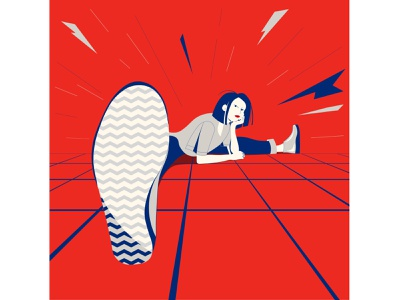 Bored girl perspective girl negativespace gradient poster flat illustration flat vector illustration