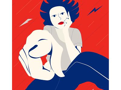 You! perspective girl negativespace poster flat illustration flat vector illustration
