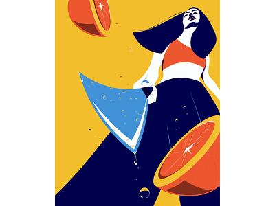 Fanta editorial orange perspective girl negativespace poster flat illustration flat vector illustration