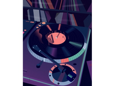 Music music gramophone vinyl gradient poster vector illustration