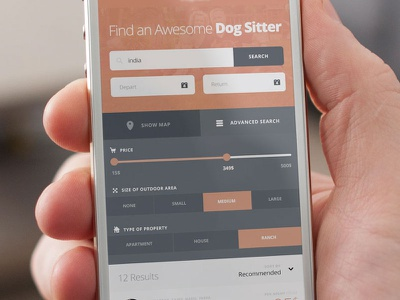 Dogsitter Search mobile app search coral red blue