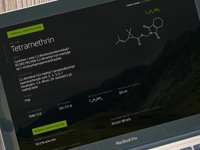 Tetramethrin ficha technica scheda green dark design website app web chemical