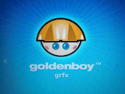 Goldenboy logo id branding cartoon illustration face blue white