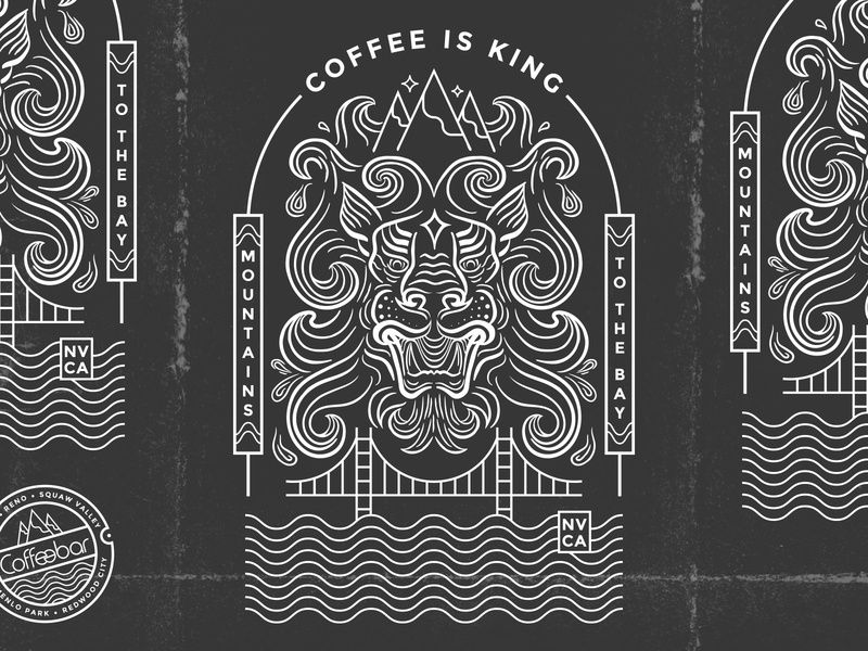 Coffee is King nevada badge shirt design tahoe reno bay coffee asian bridge mountain samurai lion illustration