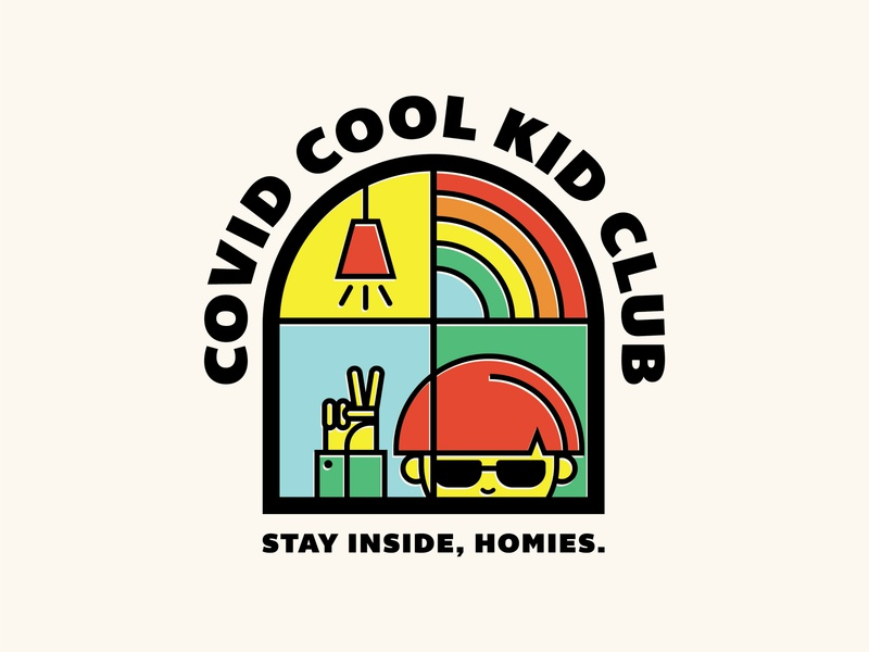 Covid Cool Kid Club tahoe reno peace line art quarantine coronavirus covid indoors inside rainbow virus badge logo illustration