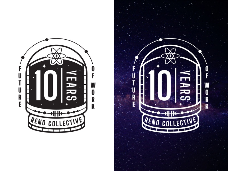 Reno Collective 10th Anniversary Logo galaxy coworking reno future spaceman stars anniversary atom space badge logo