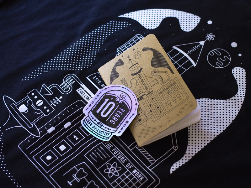 Reno Collective - 10th Anniversary Swag pandemic nevada reno merch swag covid-19 coworking tomorrowland stars spaceman rocket future space sticker scout book notebook shirt logo illustration