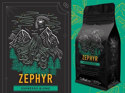 Coffeebar     Coffee Rebrand     Zephyr california wind trees sierra mountains nevada truckee tahoe reno mountains zephyr rebranding packaging illustration coffee plant coffee bag coffee