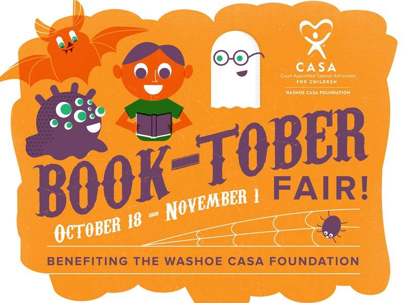 Boooooktober october washoe nevada reno spider monster ghost bat boy child reading books halloween illustration