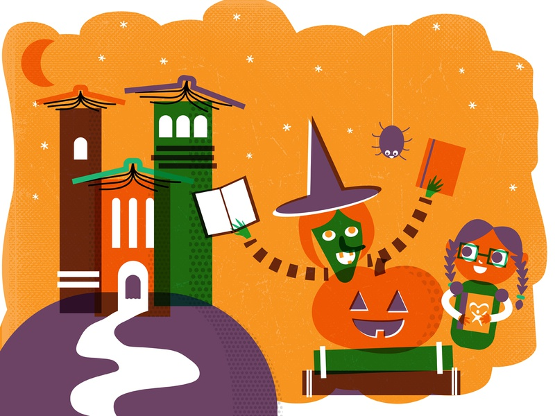 Boooooo000oo000ooktober washoe nevada reno pumpkin spider ghost haunted house witch girl child reading october halloween illustration