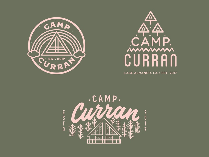 Camp Curran Logos california reno nevada patch rainbow tree summer cabin camp line art illustration logo