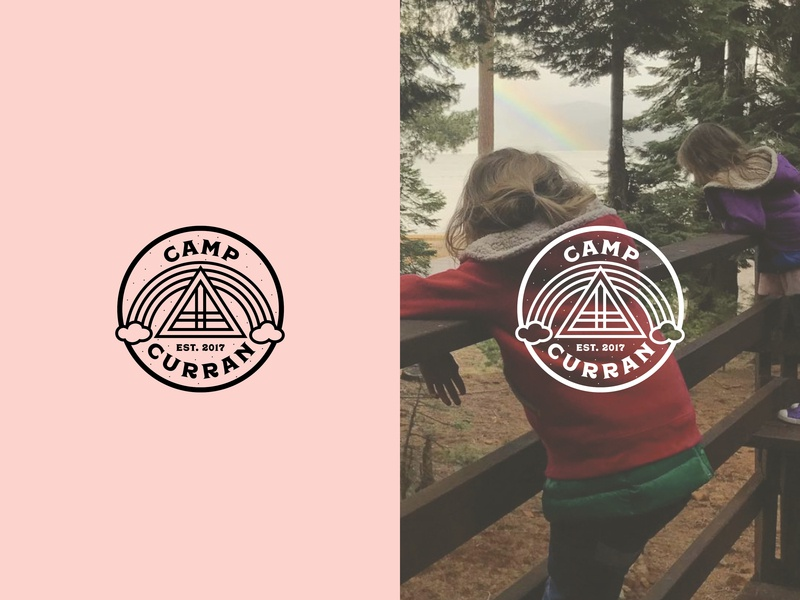 Camp Curran Logo reno california nevada retro rainbow summer summer camp camp cabin line art design logo illustration