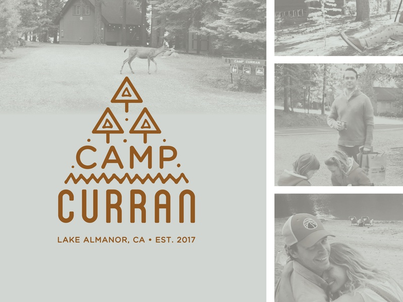 Camp Curran Logo forest woods abstract reno california nevada tree pattern summer camp a-frame cabin camp design illustration logo