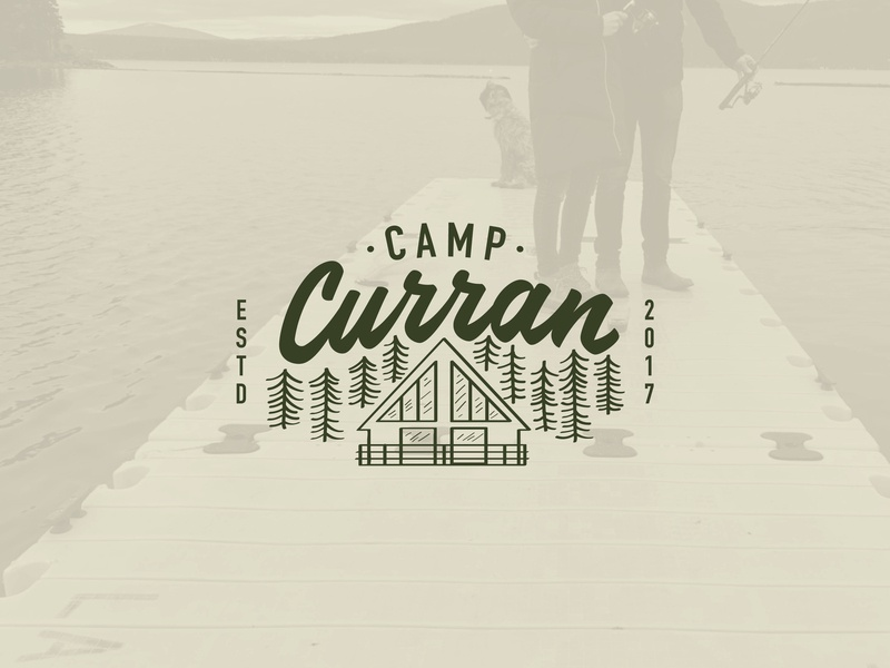 Camp Curran Logo script font retro california reno nevada forest trees summer camp summer cabin lettering line art illustration logo
