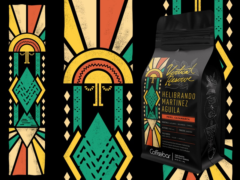 Coffeebar | Vertical Reserve | Helibrando Martinez Aguila packaging branding nevada tahoe reno sun inca peru coffeebag design coffee illustration