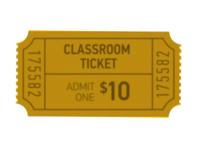 Would You Buy A Ticket to Your Lesson? k-12 education ticket color overlay halftone screen din