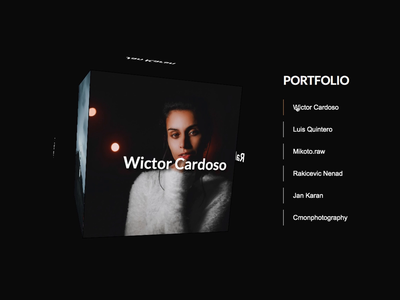 Rotating Portfolio Cube minimal javascript html css web branding design website uiux animation